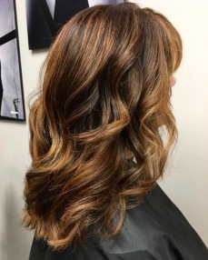 Caramel Balayage Treatment: ANC COLOUR BLEACH 20V back, 30V Top and sides, toned Mask with Vibrachrom 6,0 & 7,32 on roots 7,32 mid shaft to ends